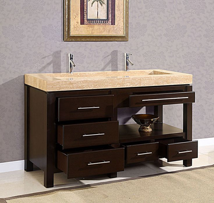 60 King Modern Double Trough Sink Bathroom Vanity Cabinet Bath Furniture Vanity Sink