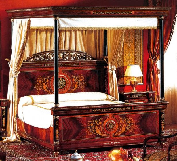 Artistic Wooden Canopy Bed With Cream Curtains Plus Table Lamp In Red Bedroom