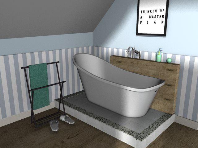 bathroom with platform, freestanding bathtub, pebbles