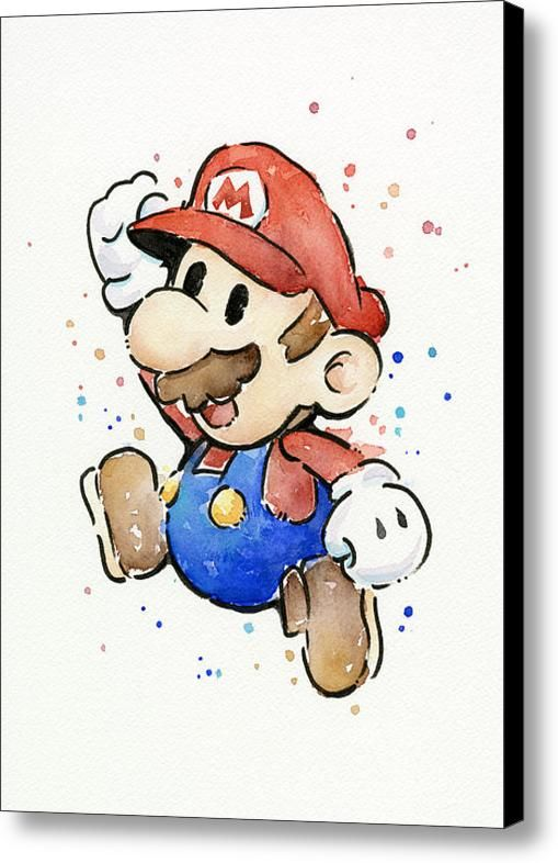 Mario Watercolor Fan Art Canvas Print