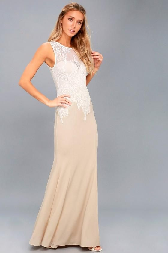 e32d484c47f Feel the romance in the air when you wear the Lover s Lace White and Nude Lace  Maxi Dress! Lovely lace overlays a sweetheart bodice and maxi skirt.