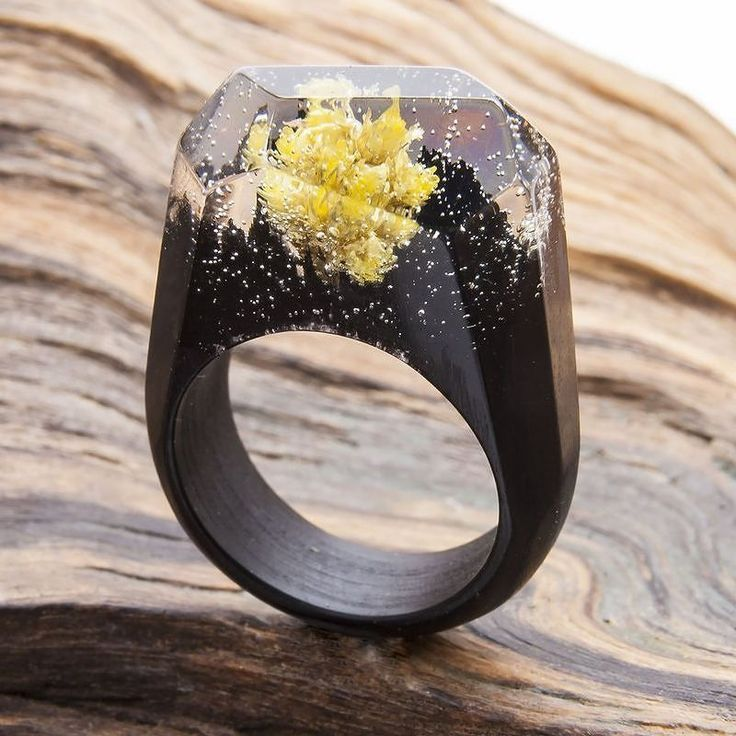 """Wooden ring """"Marigold""""is a unique solar bouquet assembled from real flowers - bright and stylish solution for your unique image.  #greenwood #greenwoodring #flowers #weddingdress #woodjewelry #woodenrings #woodrings"""