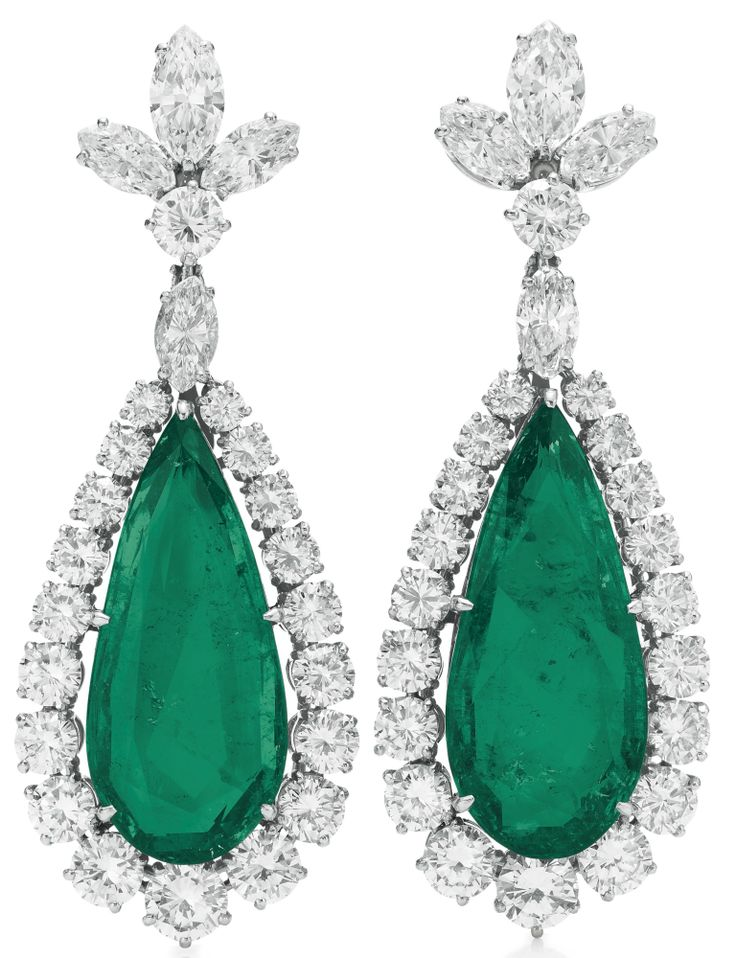 A Pair Of Emerald & Diamond Ear Pendants, By Bvlgari