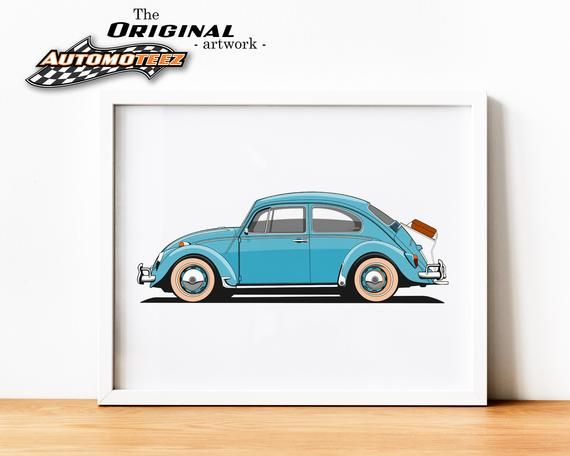 Classic Blue Bug, Car Printable Wall Art, Classic Car Wall Art, Vehicle Print, Restro Car Print, Boy