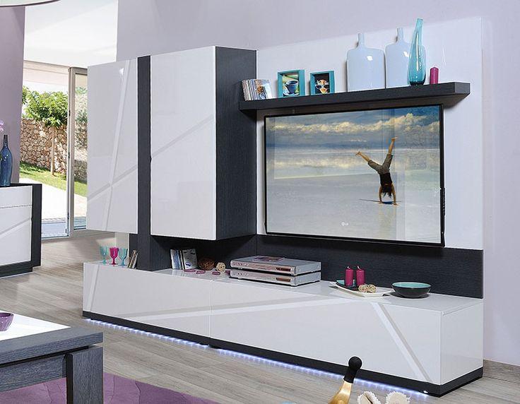 ensemble tv mural lumineux contemporain jody coloris gris. Black Bedroom Furniture Sets. Home Design Ideas