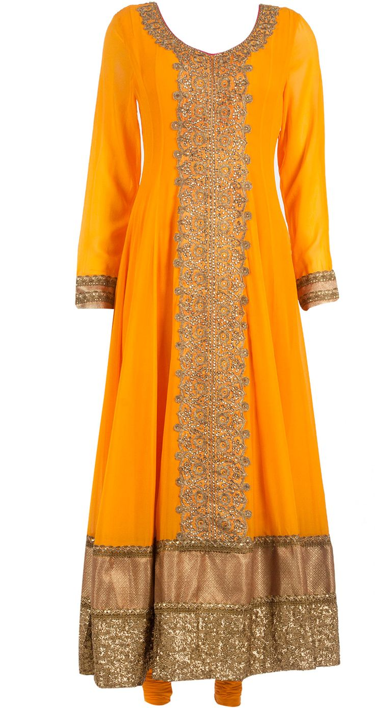 Embellished orange-yellow anarkali set available only at Pernia's Pop-Up Shop.