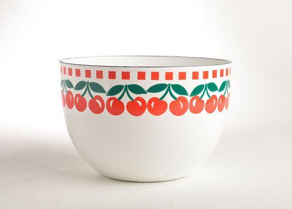 Kaj Franck Cherries Finel enamelware bowl Arabia by FireLake, $120.00