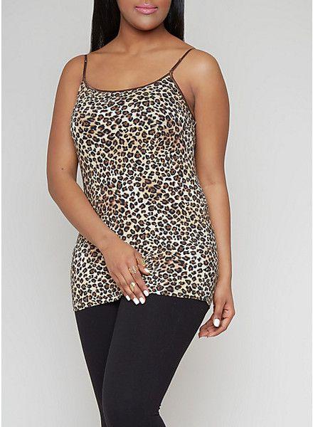 Plus Size Leopard Cheetah Animal Print Cami Top