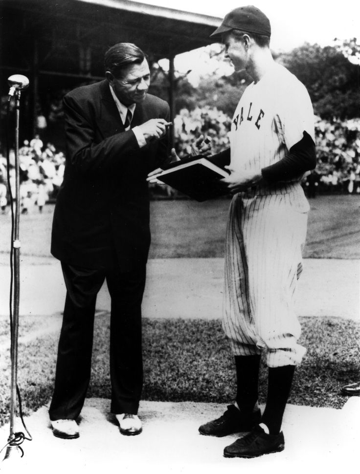 Three months before his death from cancer, good field, great-hit Yankee outfielder Babe Ruth, 53, donated his papers to Yale University. Accepting them in New Haven, Connecticut, on June 5, 1948, was the captain of the Eli team. Perhaps the first baseman, 23, knew his own scouting report (good field, no hit); George H.W. Bush chose a game other than baseball.