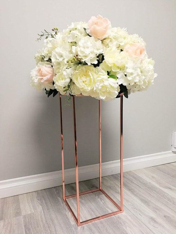 Chrome Modern Rectangle Stand Metal Geometric Vase Metal Frame Tall Stand Four Rod Stand Metal Vase Metal Vase Metal Riser Collapsible Modern Rectangle Metal Vase Wedding Table Designs