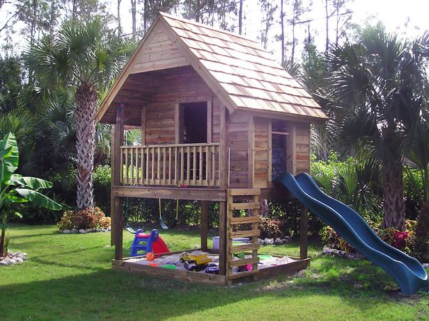 Kids would love this ~ sandbox, slide, clubhouse all in one; would probably make the slide come off a platform so we could screen in the doors & windows.