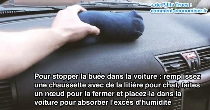 Pour stopper la buée dans la voiture, utilisez une chaussette avec de la litière pour chat