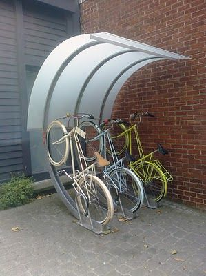 Covered outdoor bicycle rack. | Shared by velojoy.com