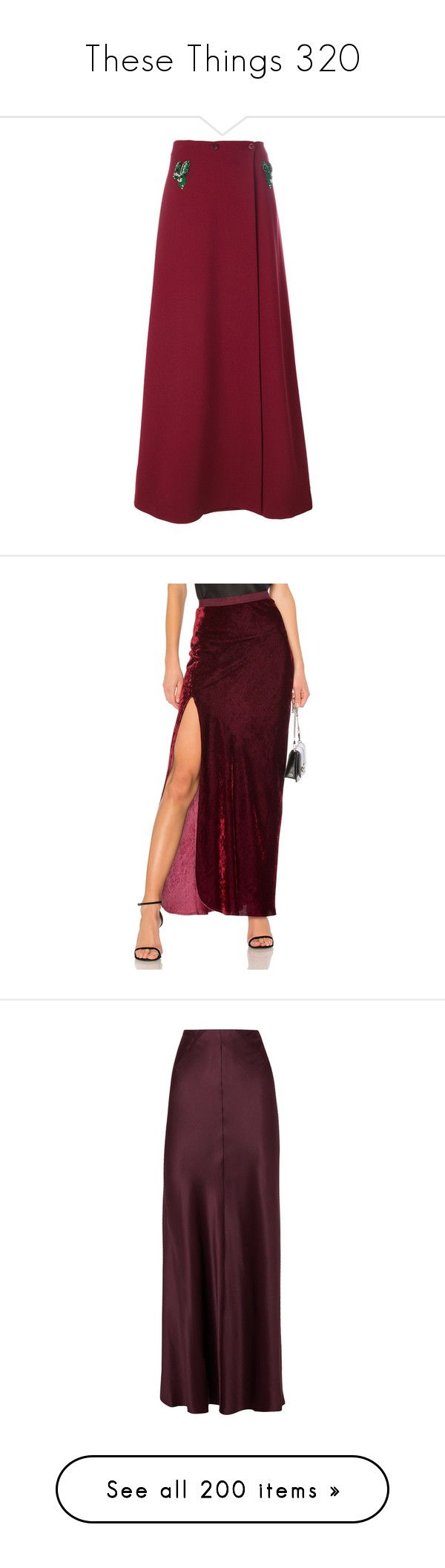 """These Things 320"" by katiemarilexa ❤ liked on Polyvore featuring skirts, red, long red skirt, maxi skirt, floor length skirt, red maxi skirt, ankle length skirt, nili lotan skirt, red skirt and burgundy"