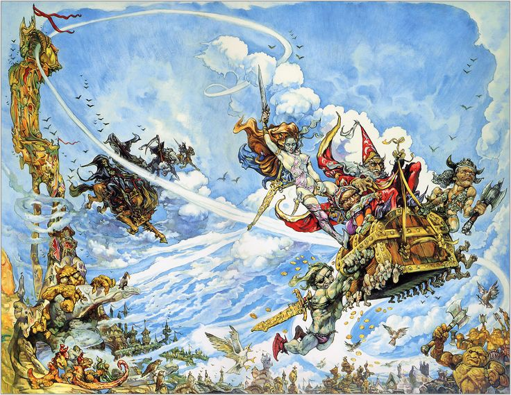 """Terry Pratchett's Discworld and the fabulous Josh Kirby's cover art for """"The…"""