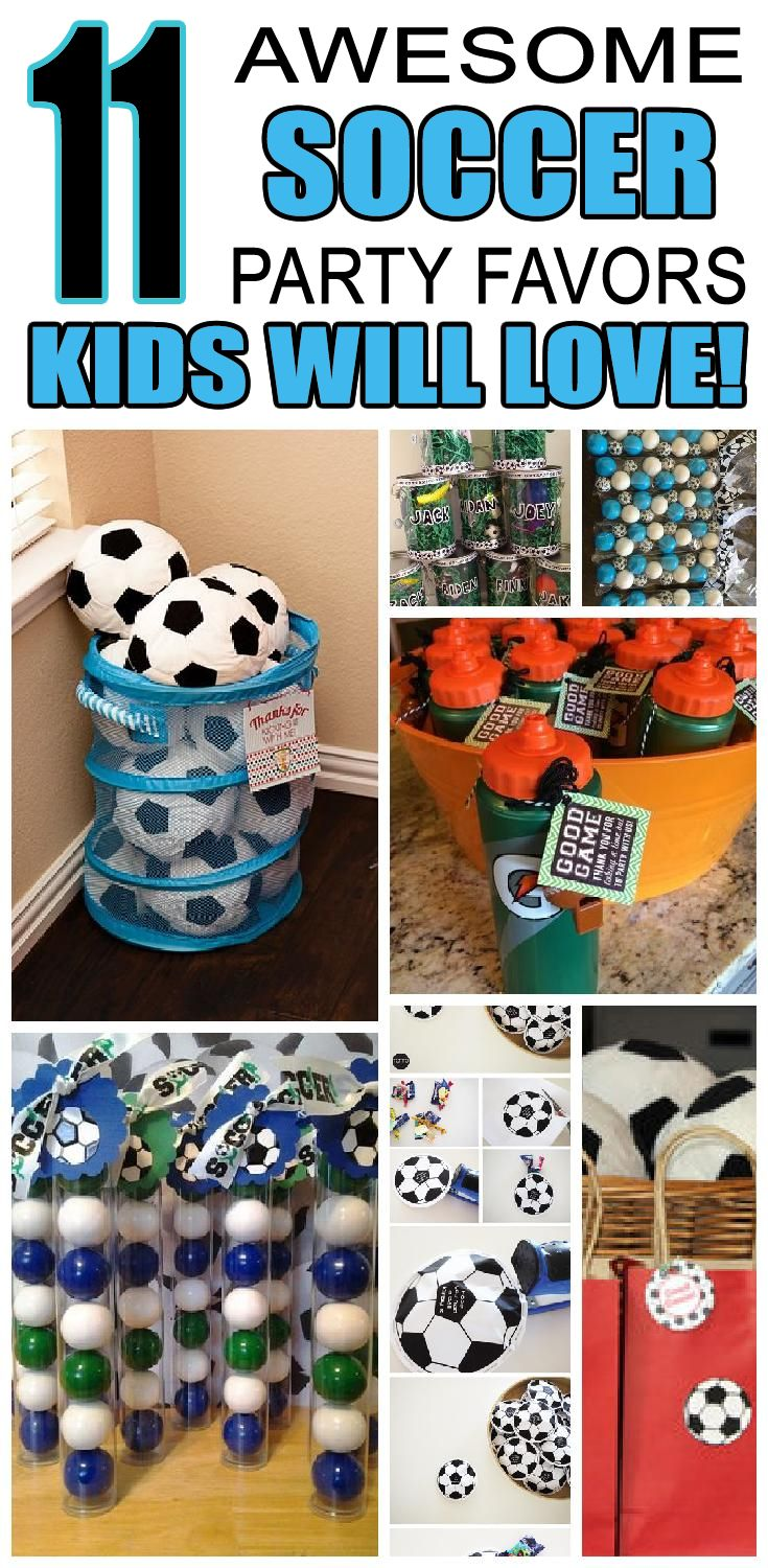11 awesome Soccer party favors kids will love. Childrens birthday party favors for soccer birthday parties.
