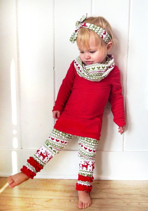 Girls Christmas Outfit- Baby Boutique Outfit- Baby Girl Christmas- Leggings, Shirt and Headband- Fair Isle Christmas Outfit