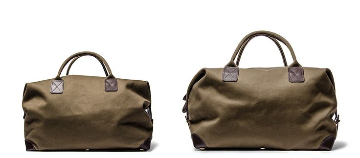Canvas & Leather Holdall Bag (Dark Olive)
