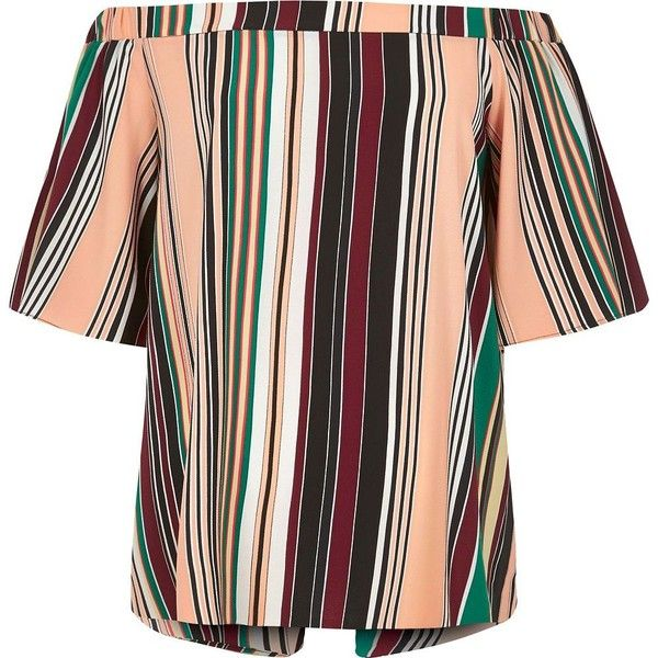 River Island Green stripe bardot top ($56) ❤ liked on Polyvore featuring tops, bardot / cold shoulder tops, green, women, tall tops, red stripe top, open shoulder tops, red short sleeve top and cut-out shoulder tops