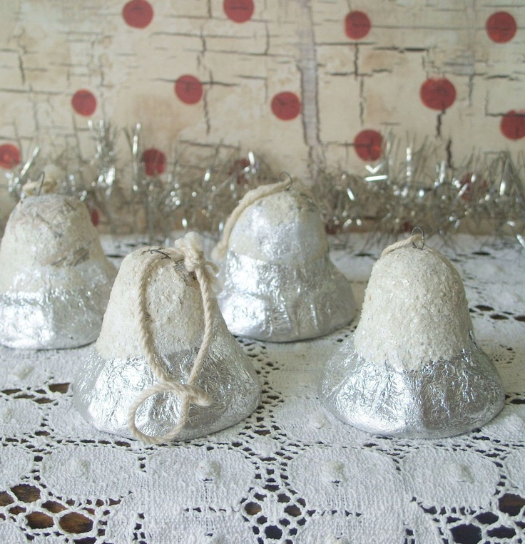 RESERVED For Karen 4 Vintage Paper Mache Foil Christmas