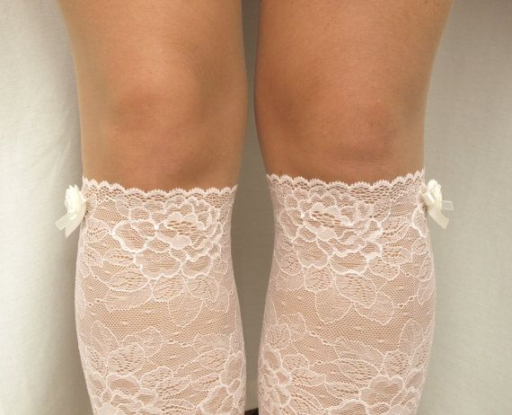 Lace Boot Cuff Socks Light Pink with Ivory by VANAGScreative
