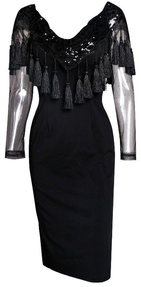 Black Sequin & Tassel Embellished Dress