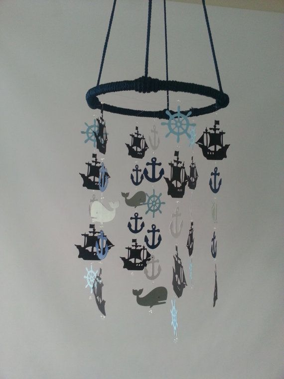 Blue and Gray Pirate Ship Adorable Nautical Sailboat Pirate Sea Ocean Baby Mobile on Etsy, $82.14 CAD