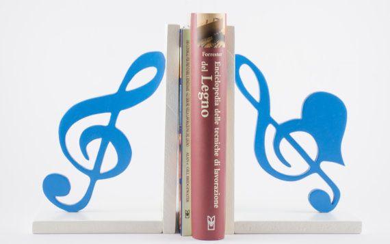 Fermalibri in legno Chiavi di violino Azzurro (coppia) - Wood Bookends Treble clefs Blue (couple)