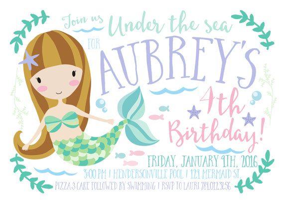 Mermaid Birthday Party Invitation Printable by INVITEDbyAudriana