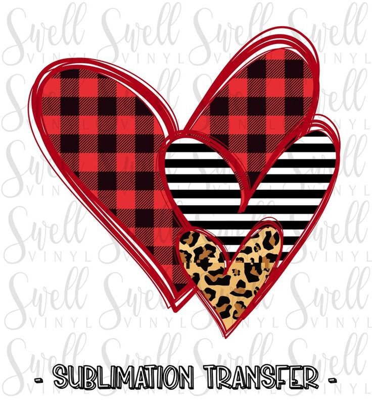 Sublimation Transfer Heart Trio Buffalo Plaid Stripes