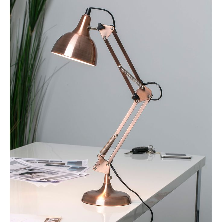 lampe de bureau articul e en m tal cuivr hauteur 60cm. Black Bedroom Furniture Sets. Home Design Ideas