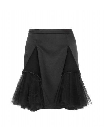 """Christopher Kane's 'Double Godlet' skirt creates a fabulous outline, contrasting a sleek pencil design with folds of satin and sprigs of pleated tulle. Wear it with an effortless T-shirt to balance out the drama."""
