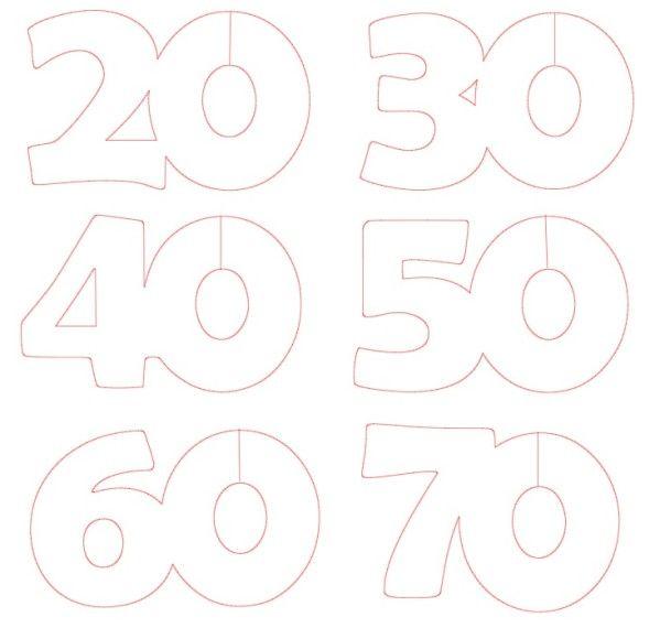 voici la d coupe r aliser pour faire des marques place verre aux chiffres 20 30 40 50 60 et 70. Black Bedroom Furniture Sets. Home Design Ideas