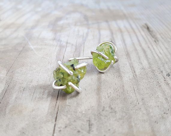 Sterling silver and rough peridot nuggets stud by MarthaLjewellery
