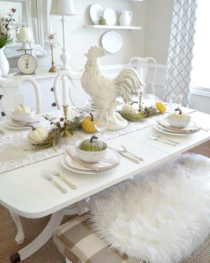 Happy Thanksgiving!  Maybe *one* of these years, we'll actually host dinner here at our Fall table!  Hope you have a wonderful day with family and friends!🍗 #thanksgiving #thanksgivingtable #thanksgivingtablescape #tablescape #lovewhereyoudwell #falltable #falltablescape #falldecorating #instahome #home #homedecor #holidaydecor #instagood #fall #holidaylovinhome #neutraldecor #sharemysquare