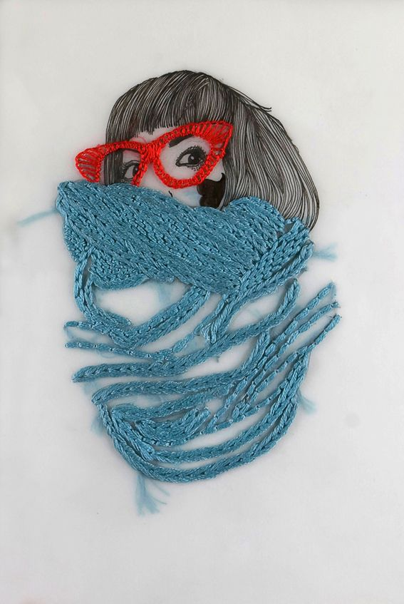 Izziyana SuhaimiPaper Embroidery, Embroidery, Illustration, Izziyana Suhaimi, Textiles, Cool Ideas, Sewing Art, Mixed Media Art, Stitches