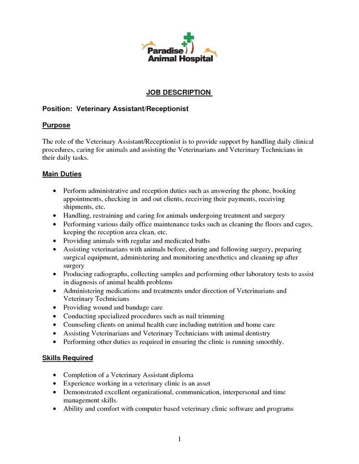 Veterinary Receptionist CV Sample MyperfectCV Resume Examples