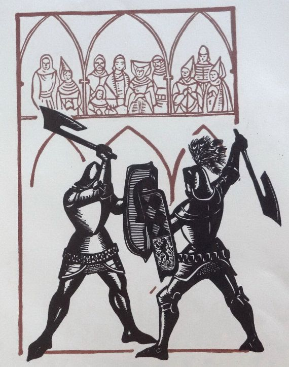 Knights of the Cross Woodcut Medieval Art 60s by MushkaVintage3