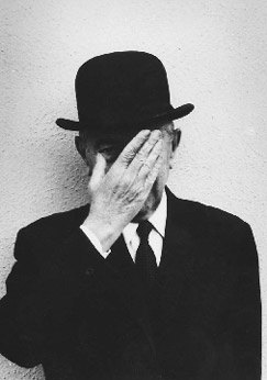 "Rene Magritte by Duane Michals. ""The mind loves the unknown. It loves images whose meaning is unknown, since the meaning of the mind itself is unknown."" . . .   ""My painting is visible images which conceal nothing... they evoke mystery and indeed when one sees one of my pictures, one asks oneself this simple question 'What does that mean'? It does not mean anything, because mystery means nothing either, it is unknowable."""
