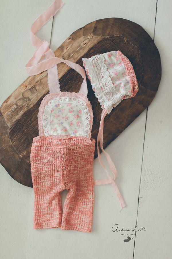 Image of Salmon rose romper set (newborn)