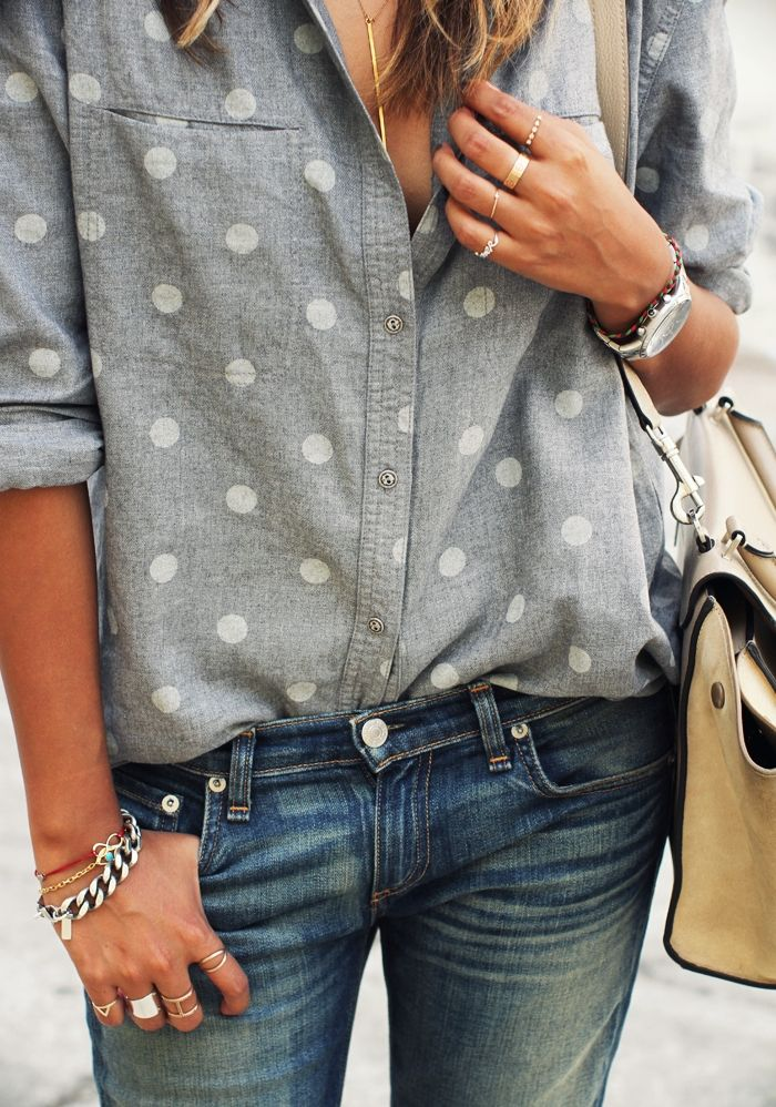 A classic chambray shirt with polka dots makes a perfect transition from summer into fall