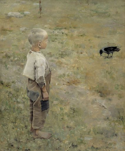 Boy with a crow (1884) by Akseli Gallen-Kallela