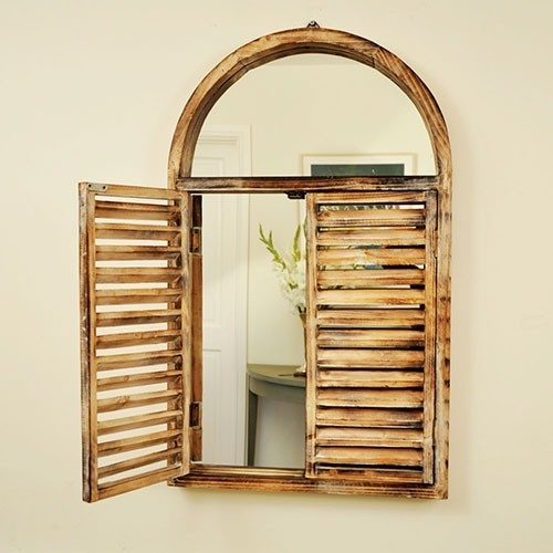 £45 Large Indoor Decorative Wooden Arch Wall Window Shutter Shuttered Louver Mirror | eBay