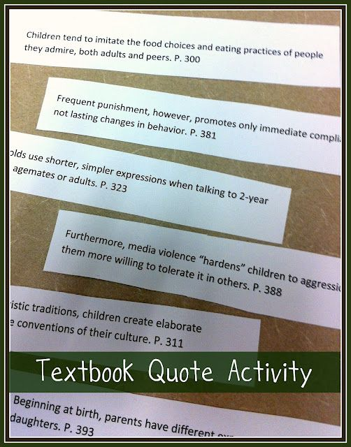 Textbook quote activity to use before a new unit/chapter, etc. Discussion starter.
