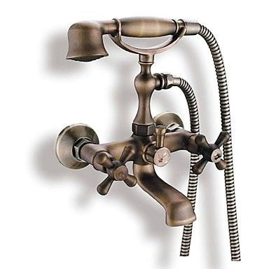 Antique Tub And Shower Handshower Included with Ceramic Valve Two Handles Two Holes for Antique Brass , Bathtub Faucet 1623075 2017 – $103.99