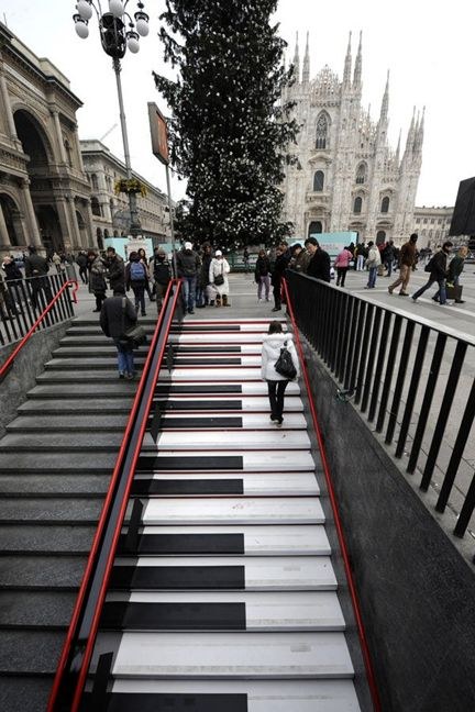 Musical Staircase Subway station of Piazza Duomo in Milan ~ Lombardy, Italy Balustrade, Music Stairs,  Handrail, Street Art, Music Staircas, Milan Italy,  Banister,  Balusters, Streetart