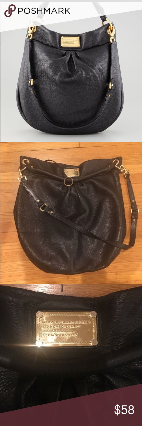 Marc by Marc Jacobs Classic Q Hillier Marc by Marc Jacobs Classic Q Hillier crossbody. Triple pleats below the workwear-inspired logo add subtle dimension to a soft, slouchy leather hobo. A single rolled handle and an optional, adjustable crossbody strap provide convenient carrying options for the versatile style. Magnetic snap closure. Interior zip, wall and cell phone pockets. Logo-print lining. Leather. By MARC BY MARC JACOBS; imported. Handbags. Item #318397 Marc By Marc Jacobs Bags…
