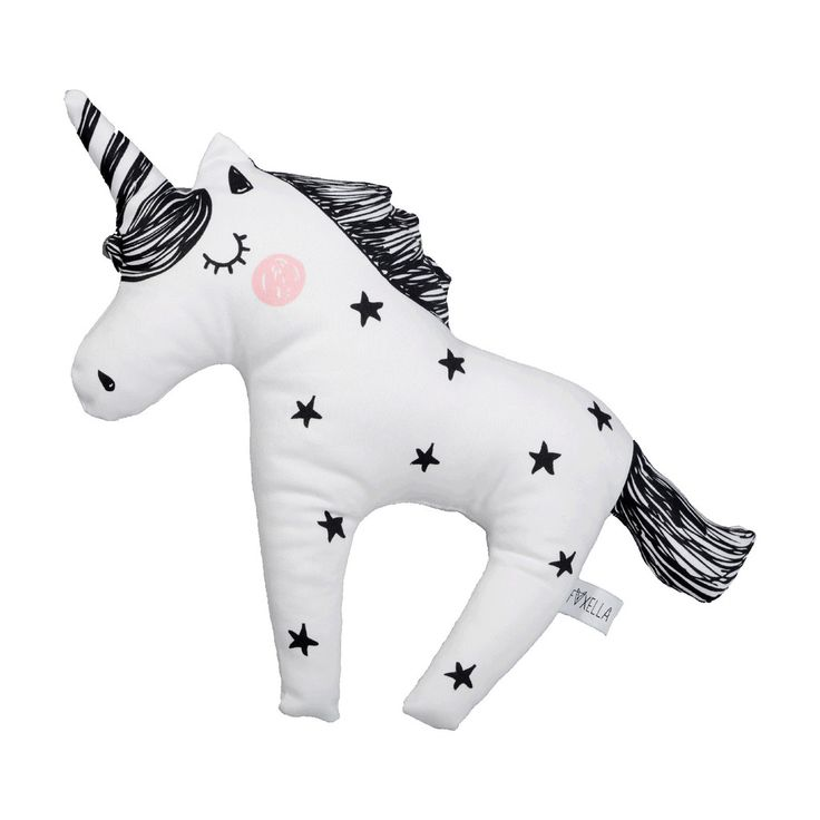Black And White Twinkle Star Unicorn Cushion by Foxella and Friends, available at @bobbyrabbitkids