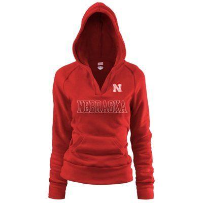 Nebraska Cornhuskers Ladies Scarlet Rugby Vintage Hoodie Sweatshirt