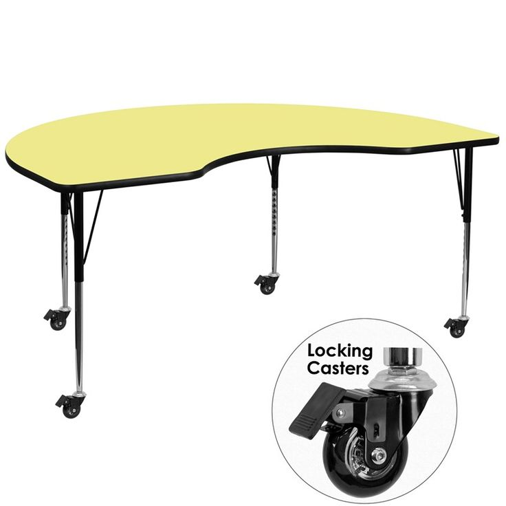 Mobile 48''W x 96''L Kidney Shaped Activity Table with Thermal Fused Laminate Top and Standard Height Adjustable Legs-Yellow